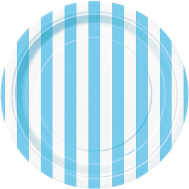 Powder Blue Stripe Dessert Plates