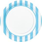 Powder Blue Stripe Dinner Plates