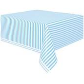 Powder Blue Stripe Plastic Tablecover