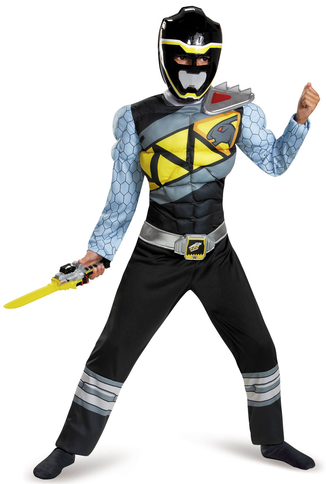 Power Rangers Dino Charge: Black Ranger Muscle Costume For Boys