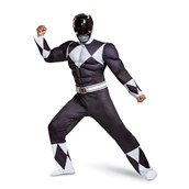 Power Rangers - Mighty Morphin  Black Ranger Classic Muscle Adult Costume