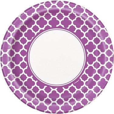 Pretty Purple Quatrefoil Dinner Plates (8)