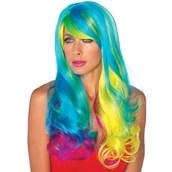 Prism Long Wavy Rainbow Adult Wig