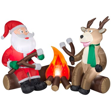 Projection Airblown Fire and Ice - Santa and Reindeer Camping