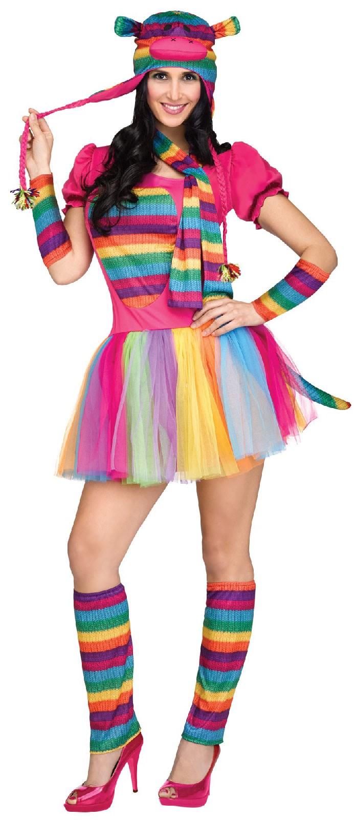 Rainbow Sock Monkey Costume For Adults