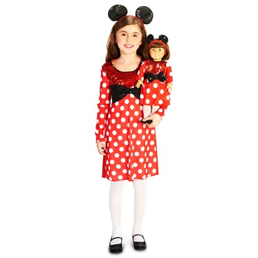 Red and White Mouse Child Costume M (8-10) with Matching 18 Doll Costume