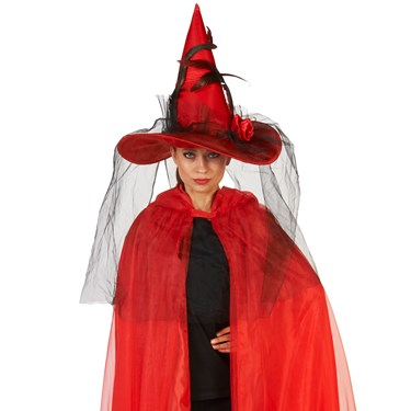 Red Feathered Witch Adult Hat with Veil