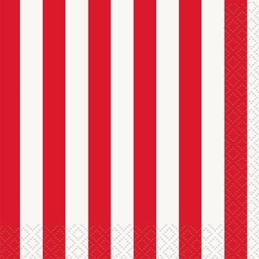 Red Stripe Beverage Napkins