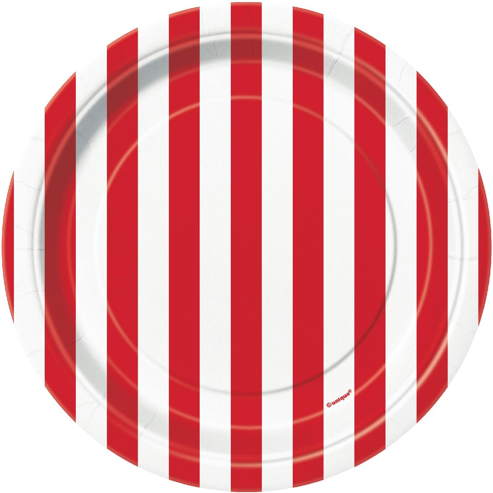 Red Stripe Dessert Plates Buycostumes Com