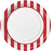 Red Stripe Dinner Plates