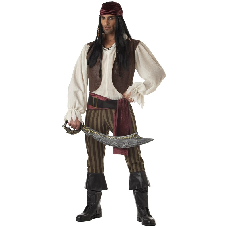 Adult Rogue Pirate Adult Costume- Brown:   (44/46)