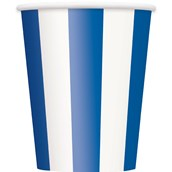 Royal Blue Stripe 12 oz. Paper Cups