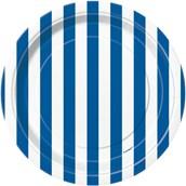 Royal Blue Stripe Dessert Plates