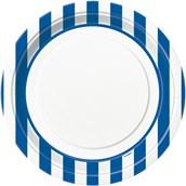 Royal Blue Stripe Dinner Plates