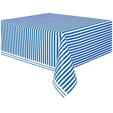 Royal Blue Stripe Plastic Tablecover
