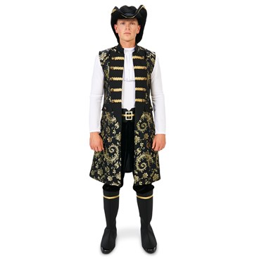Royal Pirate Vest and Pant Set with Hat and Boot Covers Adult Costume