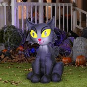 Scary Black Cat Airblown with Lights