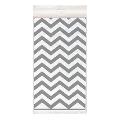 Silver Chevron Plastic Tablecover