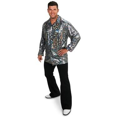 Silver Disco Shirt Adult Plus Costume