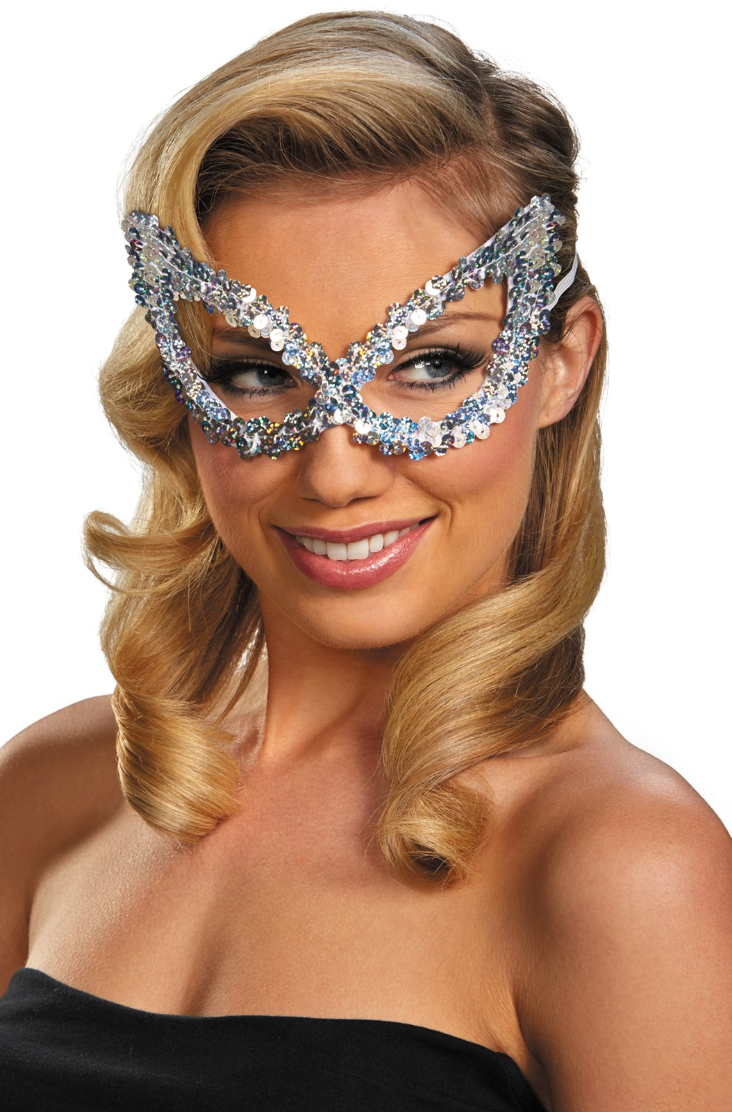 Silver Sequin Masquerade Eye Mask