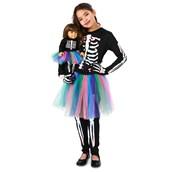 Skeleton Tutu Child Costume M (8-10) with Matching 18 Doll Costume