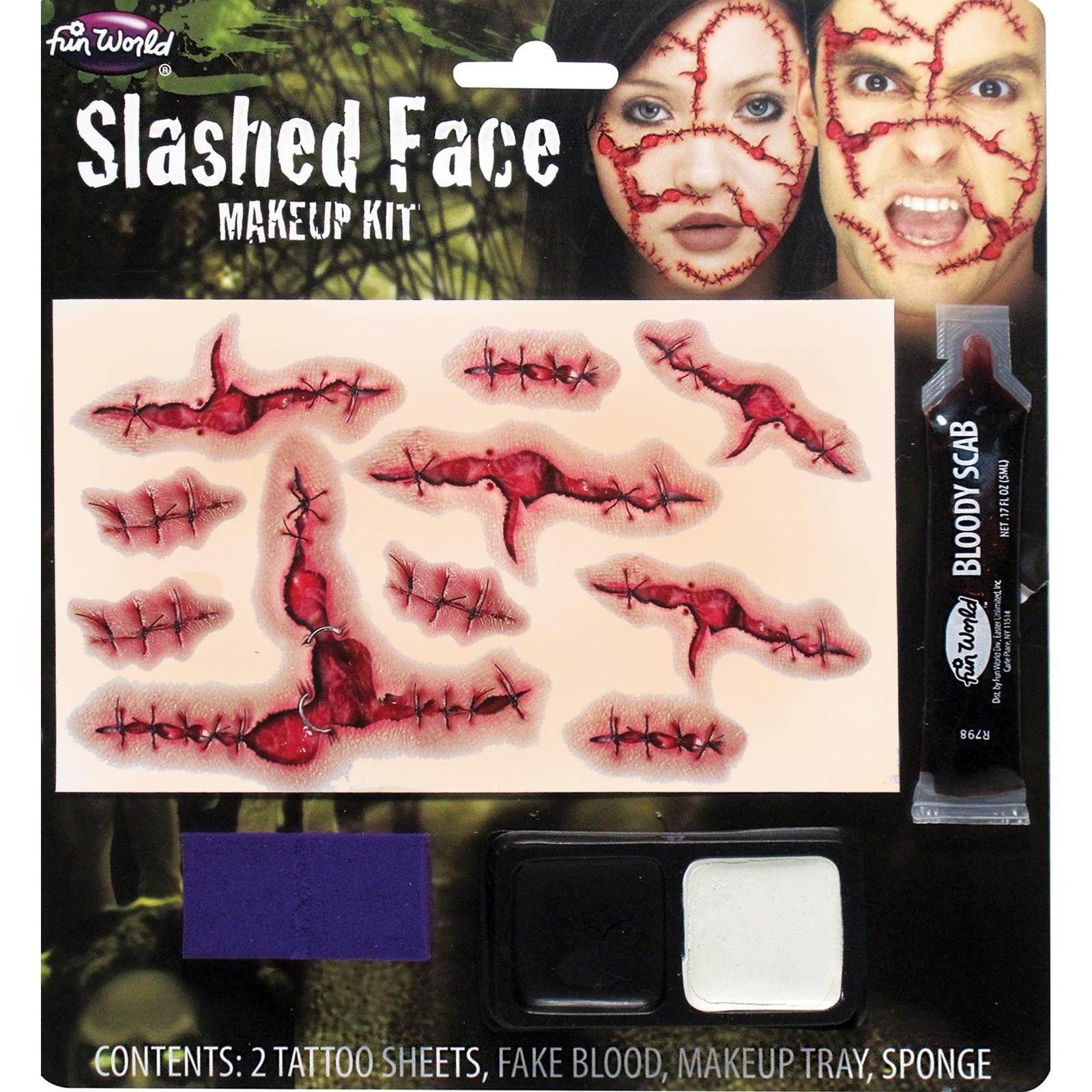 Slashed Face Makeup Costume Kit