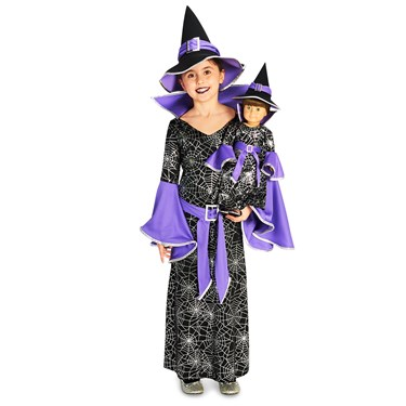 Spider Web Silver Printed Witch Costume M (8-10) with Matching 18 Doll Costume