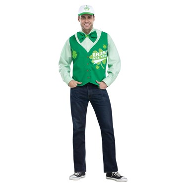St. Patrick's Day All Star Deluxe Vest Hat and Tie Set