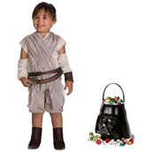 Star Wars Episode VII: The Last Jedi - Rey Toddler Costume and Candy Pail Bundle