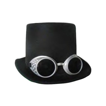 Steampunk Deluxe Top Hat With Goggles