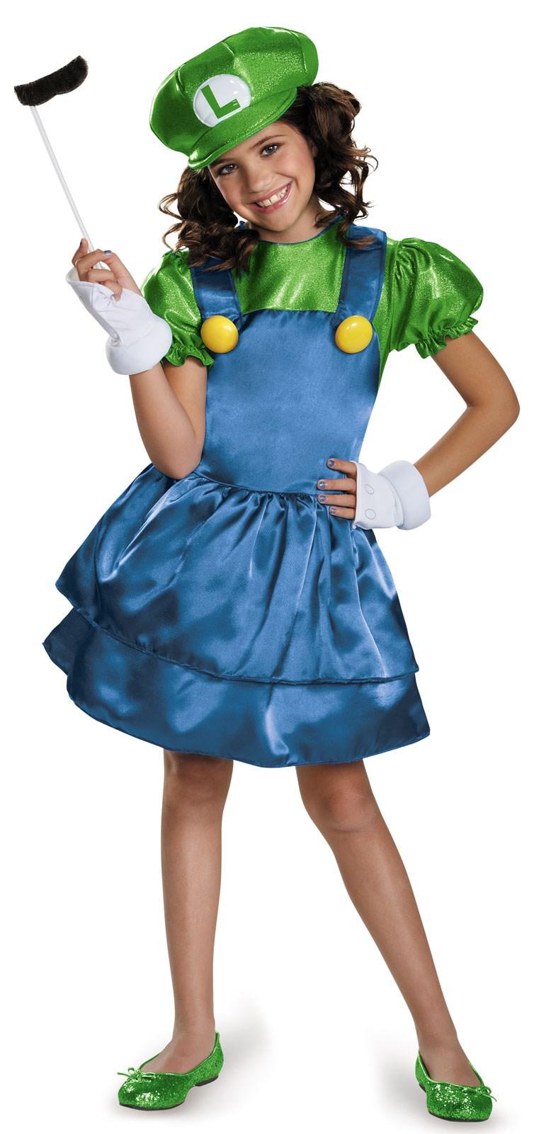 Super Mario Bros: Girls Luigi w/Skirt Costume