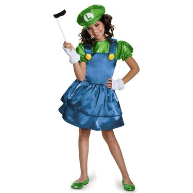 Super Mario Bros: Girls Luigi w/Skirt Costume