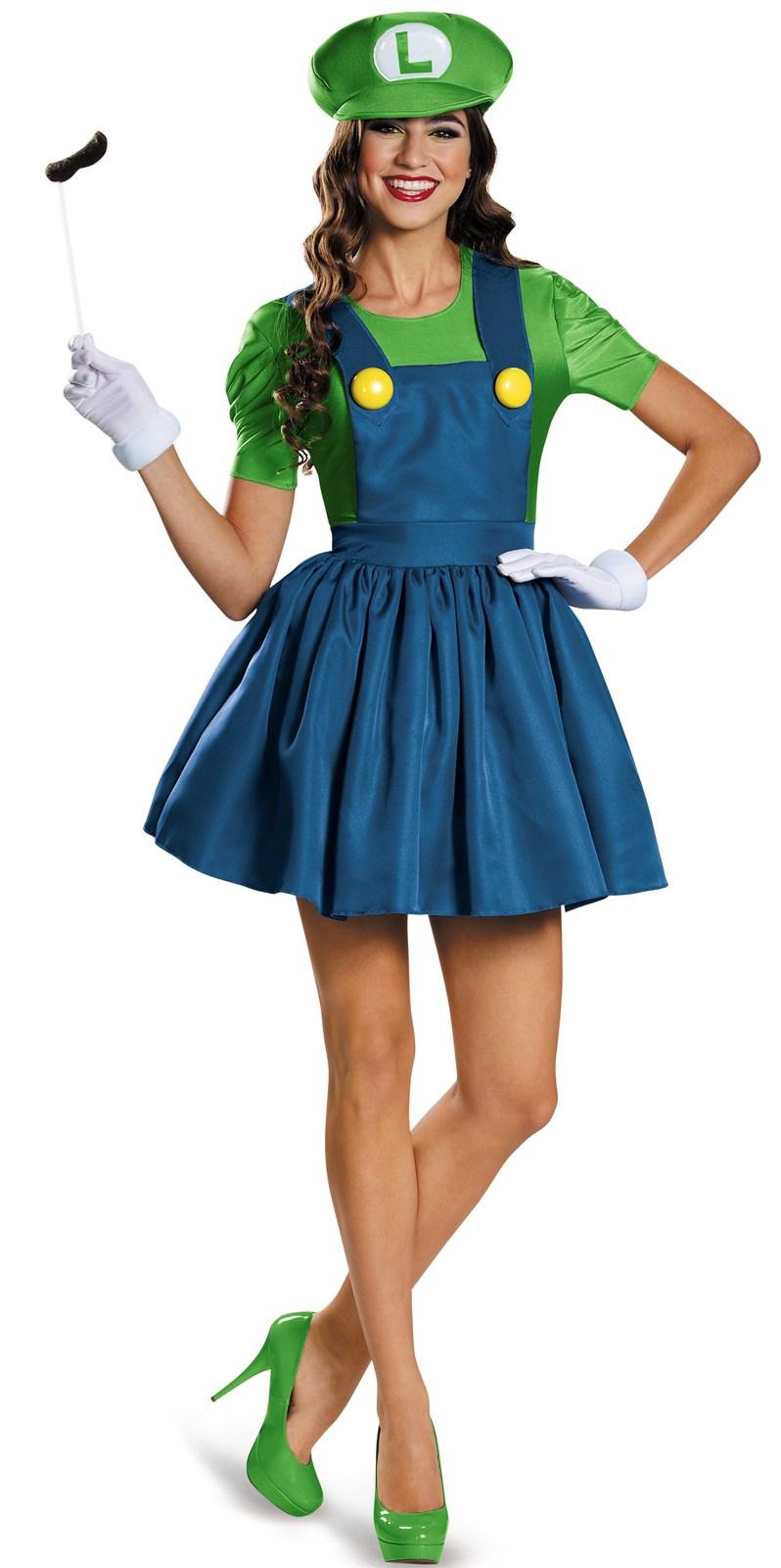 Super Mario: Luigi w/Skirt Costume For Women