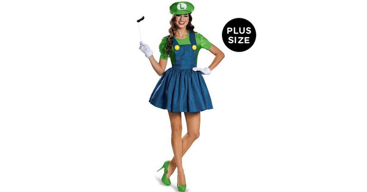 super mario plus size luigi costume with skirt for women buycostumescom - Girl Mario And Luigi Halloween Costumes