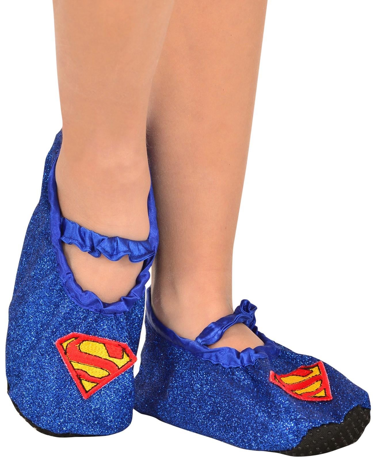 Supergirl – Girls Classic Glitter Slipper Shoes