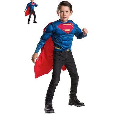 Superman Deluxe Muscle Chest Shirt and Cape Set Child One Size