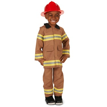 Tan Firefighter with Helmet Toddler Costume