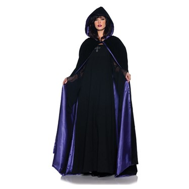 Velvet & Satin Deluxe Purple Womens Cape