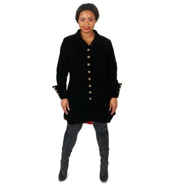 Velvet Black Pirate Jacket Adult Female Plus Costume