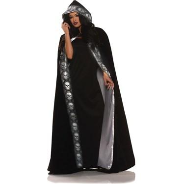 Velvet Skull Cape Womens Costume