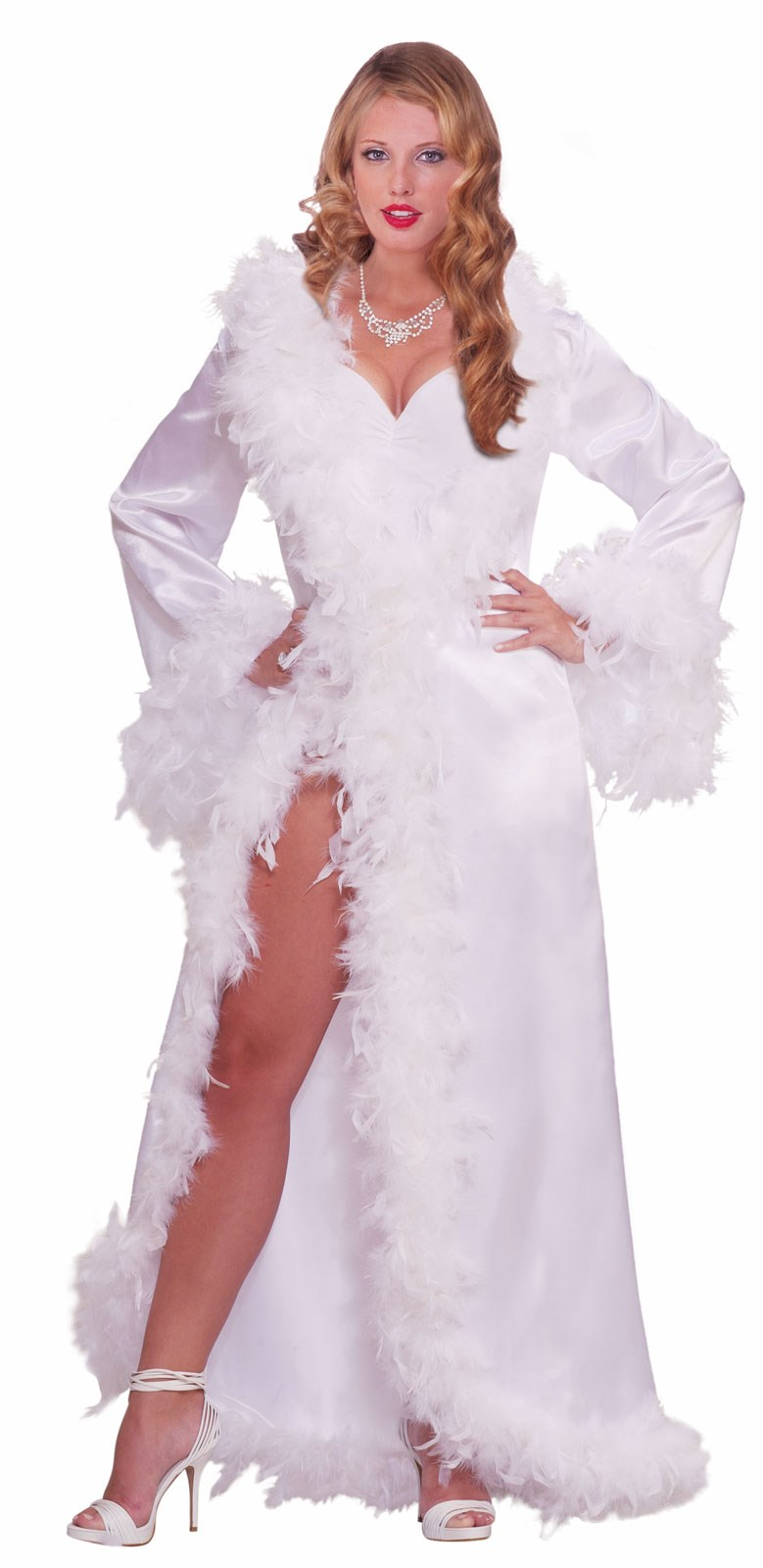 Vintage Hollywood Marabou Satin Robe Adult Costume | BuyCostumes.com