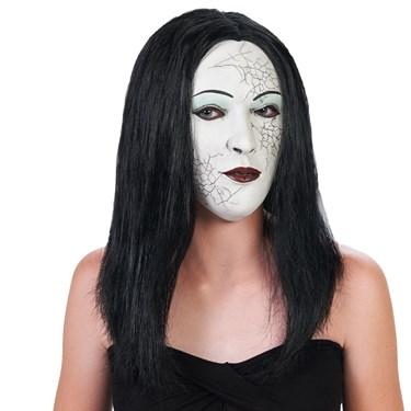 White Face Black Hair Adult Mask
