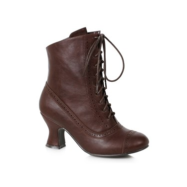 Woman's 2.5 inch Heeled Brown Victorian Bootie