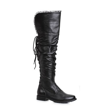 Women's 1 inch Heeled Over the Knee Black Pirate Boot
