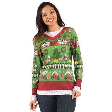 Womens Cat Ugly Christmas Sweater
