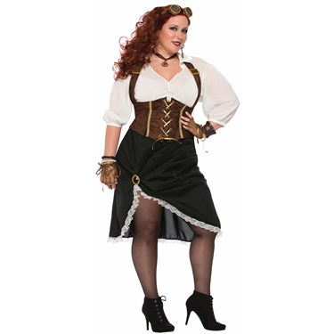 Women's Curvy Steampunk Lady Costume