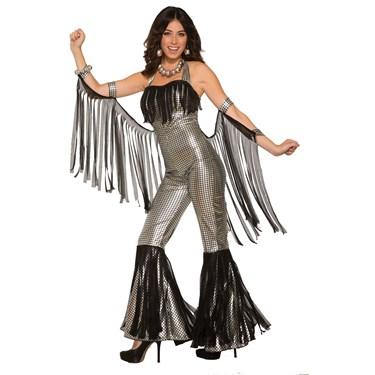 Womens Disco Queen Silver Jumpsuit