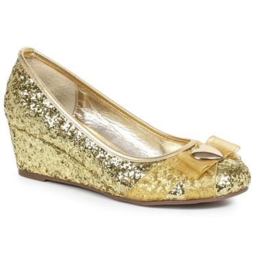 Women's Gold Glitter Princess Shoe with Heart Decor