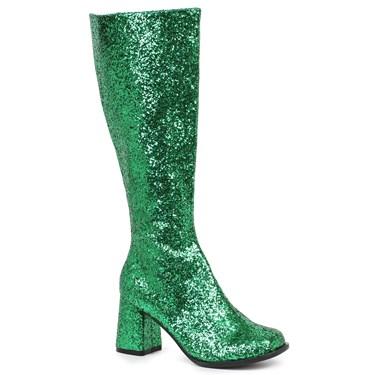 Women's Green Glitter Gogo Boots