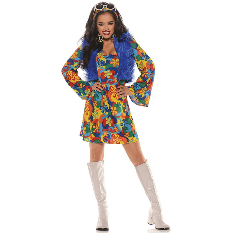Womens Groovy Blue Hippie Costume